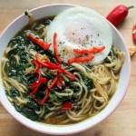 Spicy spinach ramen bowl