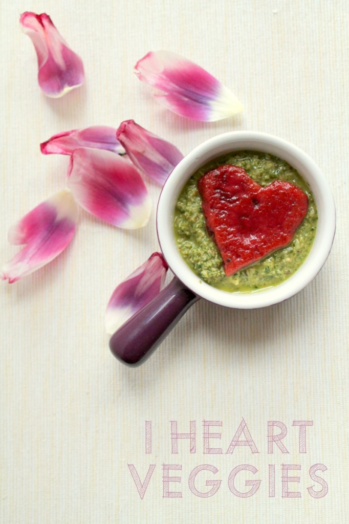 beetroot gnocchi hearts with watercress pesto
