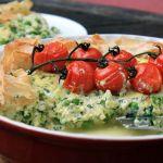 Courgette, pea & ricotta filo tart