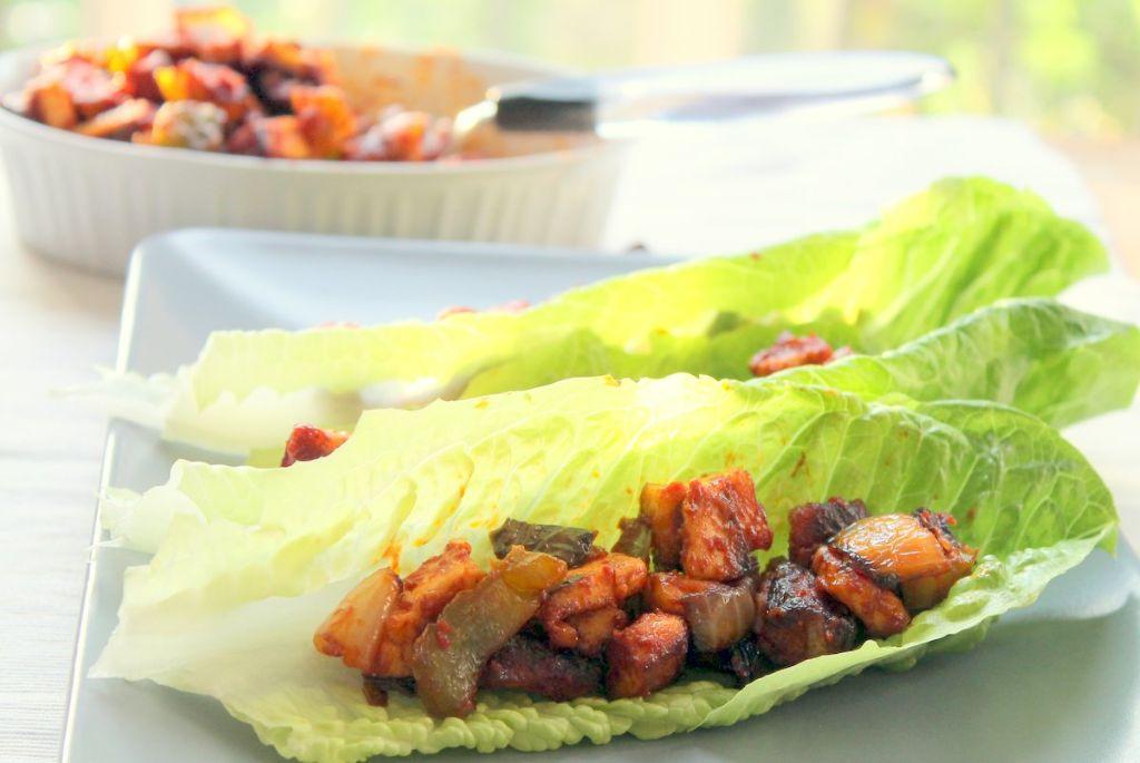 Chilli paneer lettuce wraps