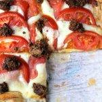 Caprese tart with sundried tomato & mint pesto