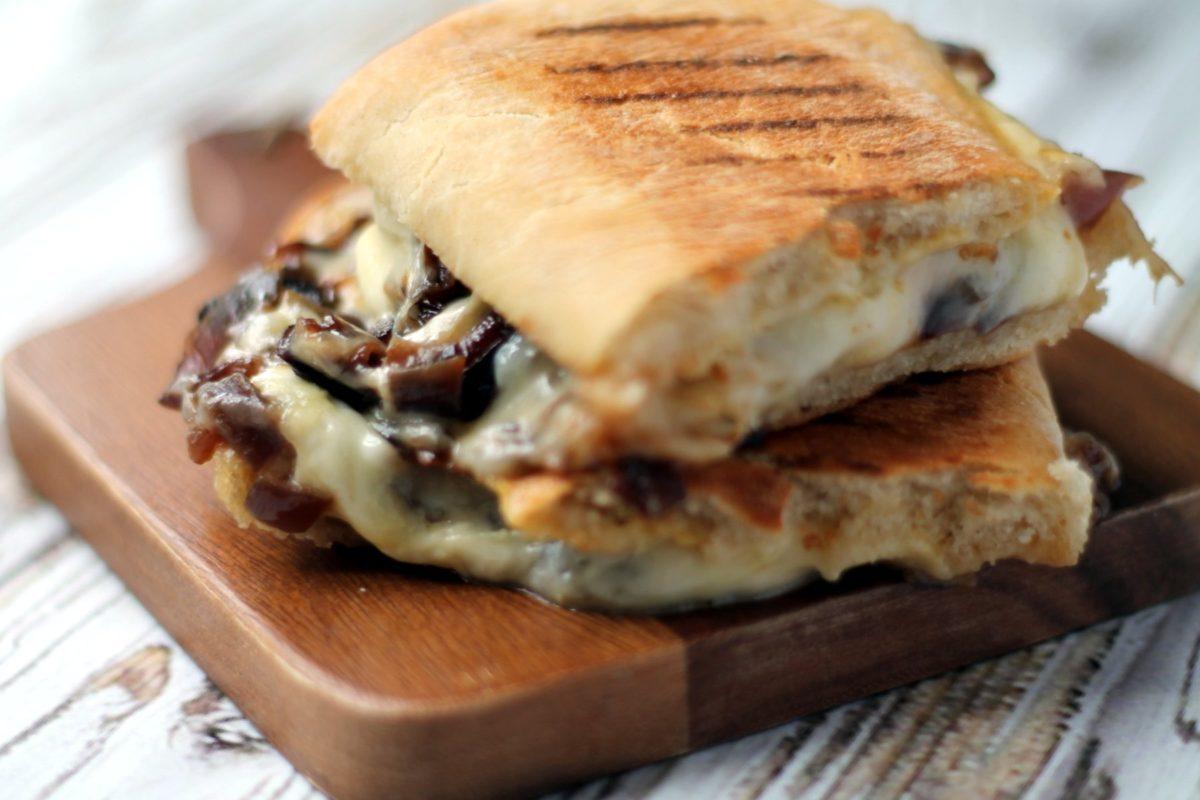 Smoky cheese & caramelized onion panini