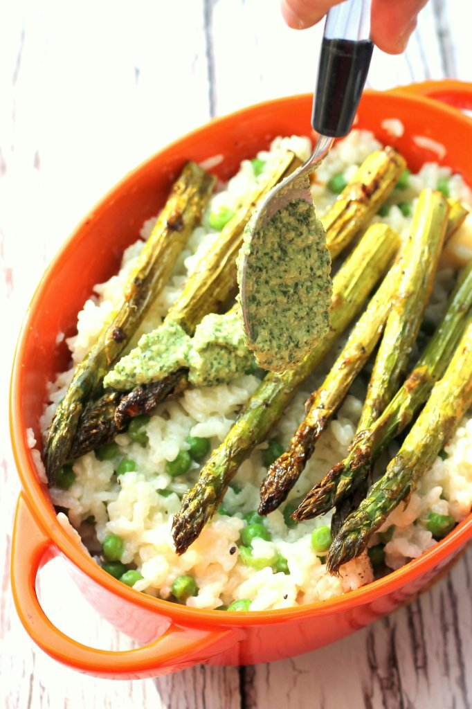 This summery risotto is delicious creamy and bursting with flavor and texture. It's oven baked and dairy free to boot!