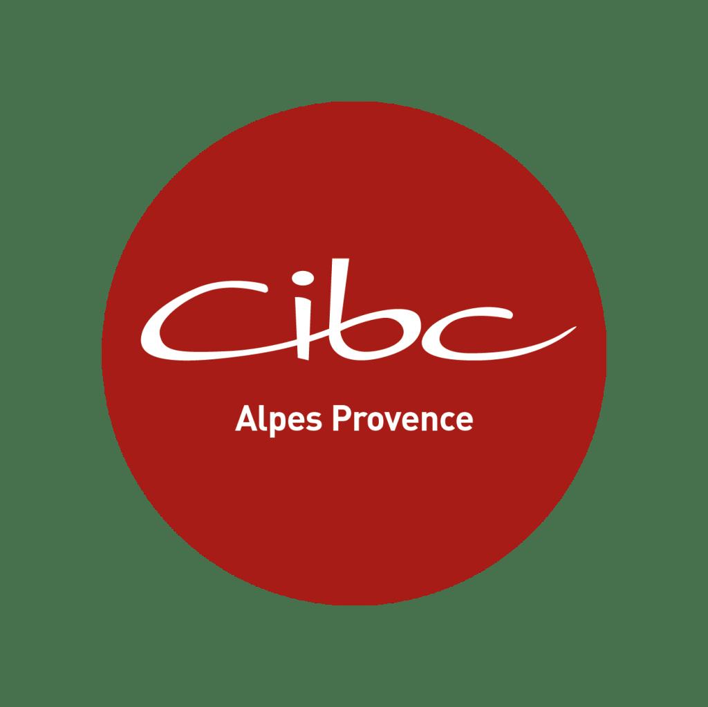 logo CIBC Alpes Provence, blanc sur rond rouge
