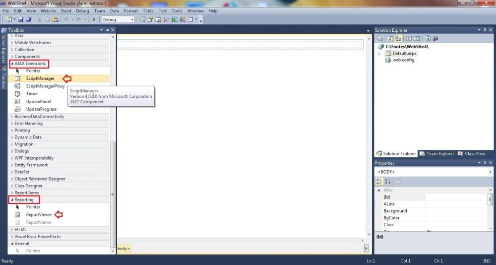 Criando um Website no Visual Studio para ver um relatório no Report Server. (5/6)