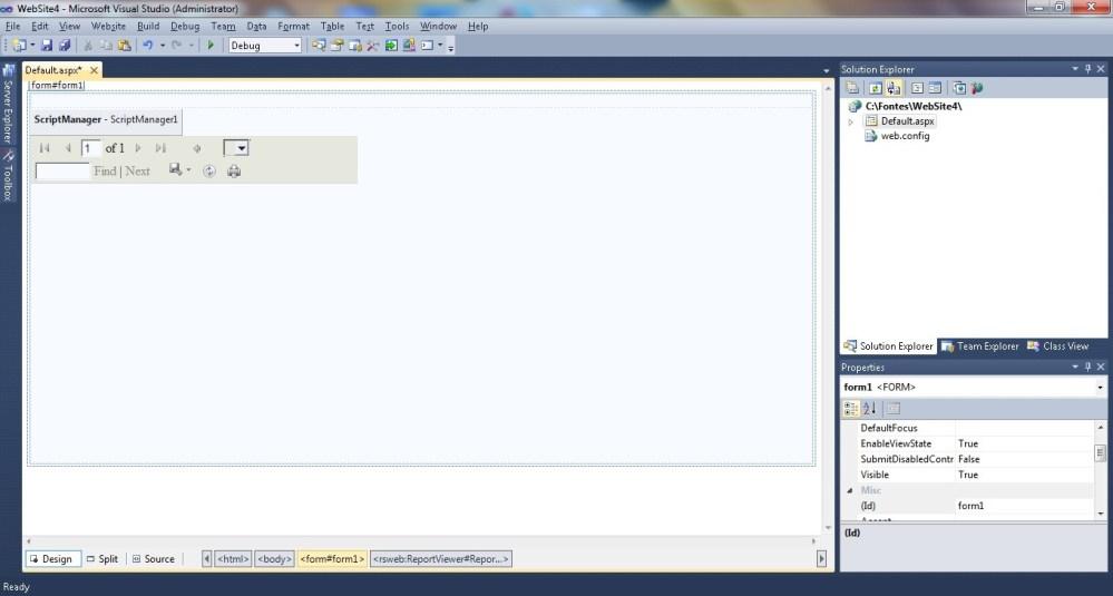 Criando um Website no Visual Studio para ver um relatório no Report Server. (6/6)
