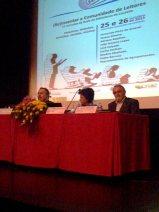 O Dr. Teixeira Lopes (da FLUP), a Dra, Maria Artur (RBE) e o Dr. José Calçada (Inspetor Pedagógico).