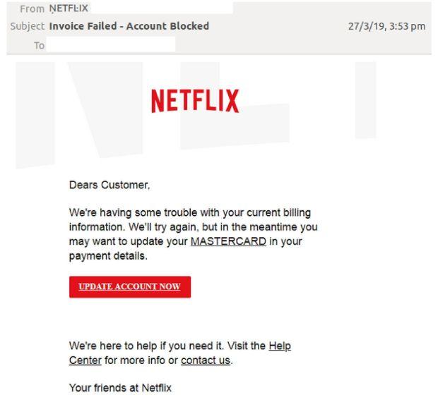 Phishing Netflix Actualizar datos