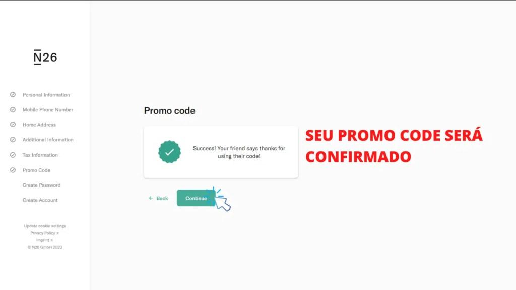 tela mostrando o passo 12 de como abrir conta no banco n26 portugal