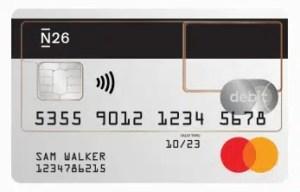 imagem do cartão da conta do banco n26 portugal business grátis