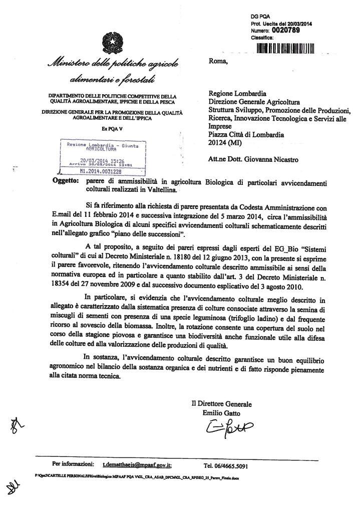 Parere MIPAAF avvicendamento Valtellina