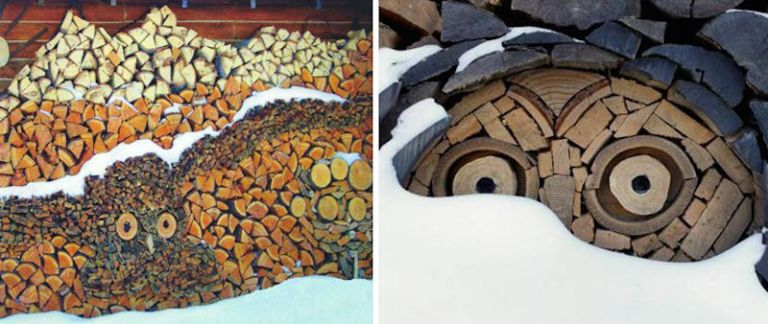 Wood pile art