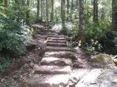 Jalan tetecean anu nanjak nuju ka munggang Gunung Lingga
