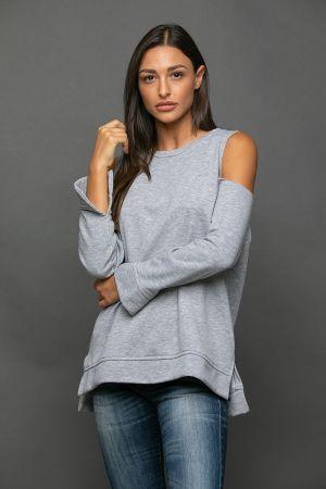 Φωτογραφία προϊόντος Μπλούζα φούτερ με ανοιχτούς ώμους και λαιμόκοψη NAIBA