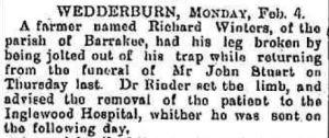 1895 Richard Winters broken leg