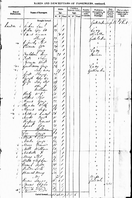 1852 Arrival of George LEE in Port Phillip from London 'goldseeker' on Blackwall 2 Dec 1852 Victoria, Australia, Assisted and Unassisted Passenger Lists, 1839–1923 Ancestry cropped 2