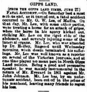 1864 Account of G W LEe's death in The Argus