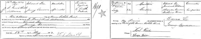 1873 Marriage certificate of Edward LEE and Jenny CAMERON
