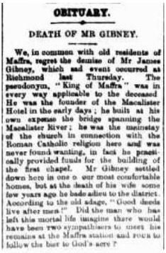 1899 Obituary for James GIBNEY