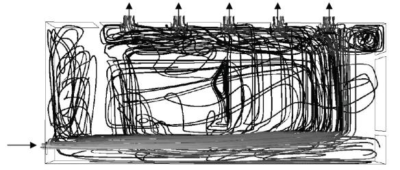 Figure 6 : Lignes de courant pour le test 2