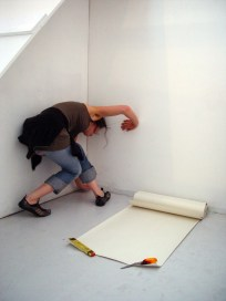 The Measuring Room - BLANK Gallery installation view with participant. CiCi Blumstein 2008.