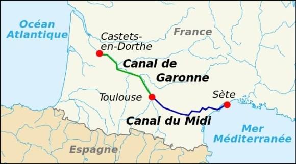 Mapa del Canal de Midi