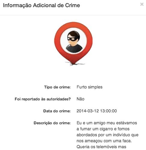 Um dos crimes reportados no Mapscrime