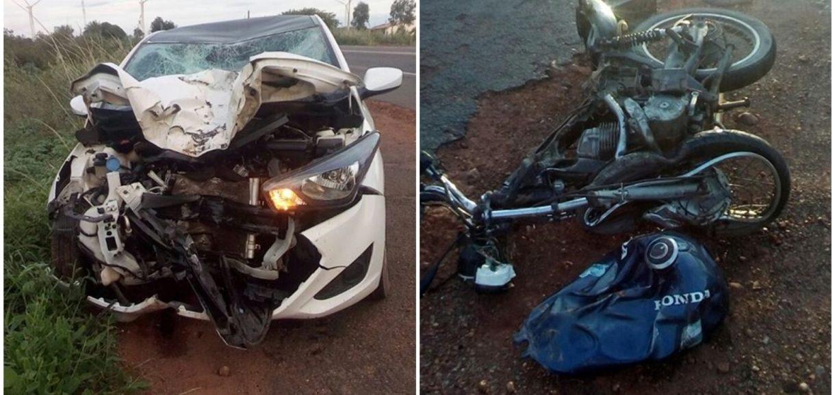 Colisão entre motocicleta e carro deixa vítima fatal em Marcolândia