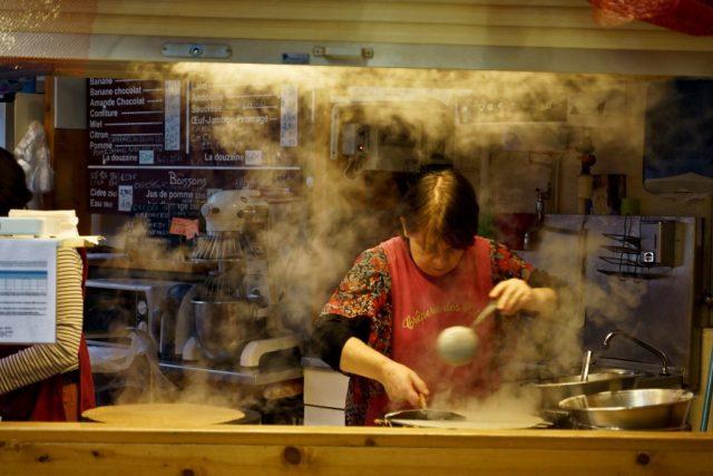 Preparing crepes in France