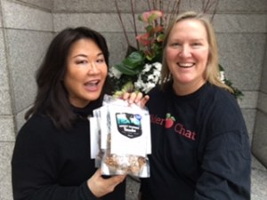 Vivian Lee of Luck Rabbit Snacks a gluten free snack option and Ria of Cider Chat