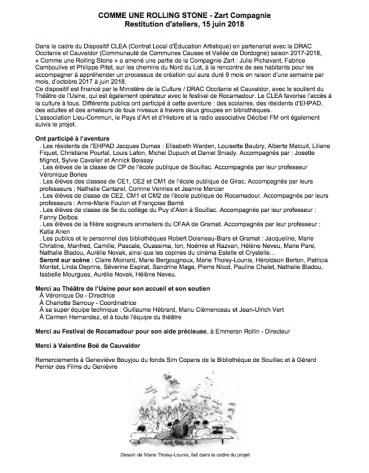 Feuille de salle - Restitution des ateliers projet Comme une rolling stone - Théâtre de l'Usine - St Céré - Cauvaldor