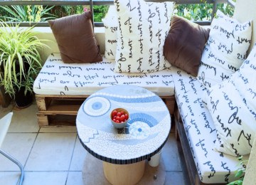 Salon De Jardin Palette Balcon | Blanc Extérieur Idées De Décor En ...