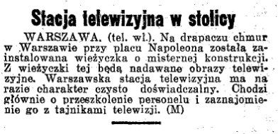 """""""Dziennik Ostrowski"""" z 10 września 1938 informuje o powstaniu stołecznej stacji telewizyjnej."""