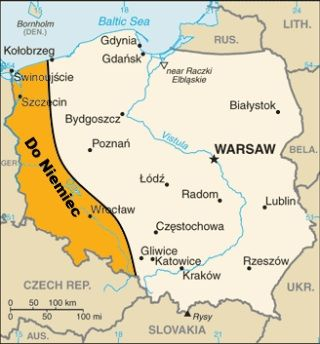 """Orietacyjny przebieg """"linii Marshalla"""". O tyle mniejsza mogłaby być dzisiejsza Polska..."""