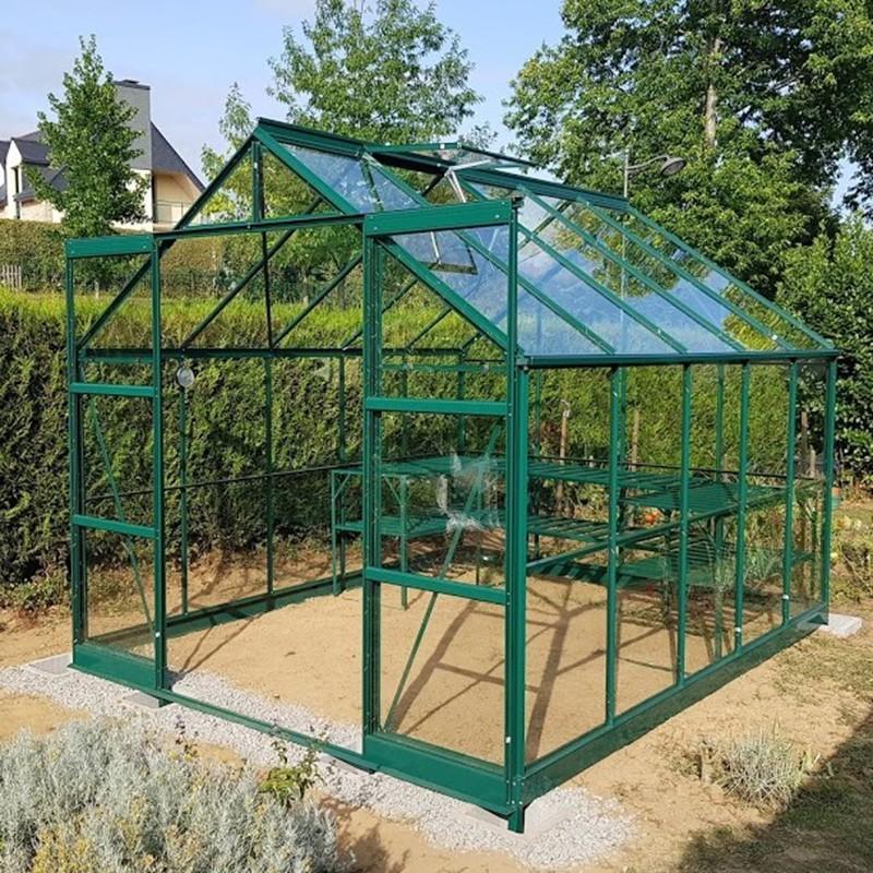 serre de jardin jade en verre trempe 4mm avec base