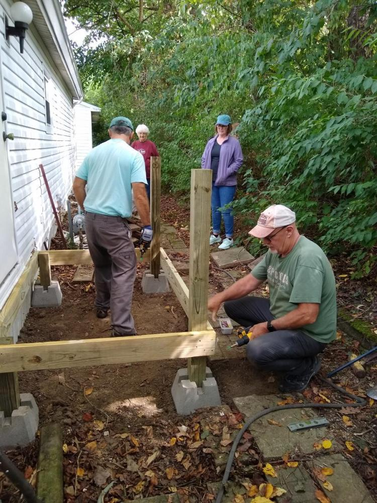 Working on back deck in Plymouth