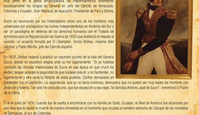 Muere asesinado el Abel de América, Antonio José de Sucre