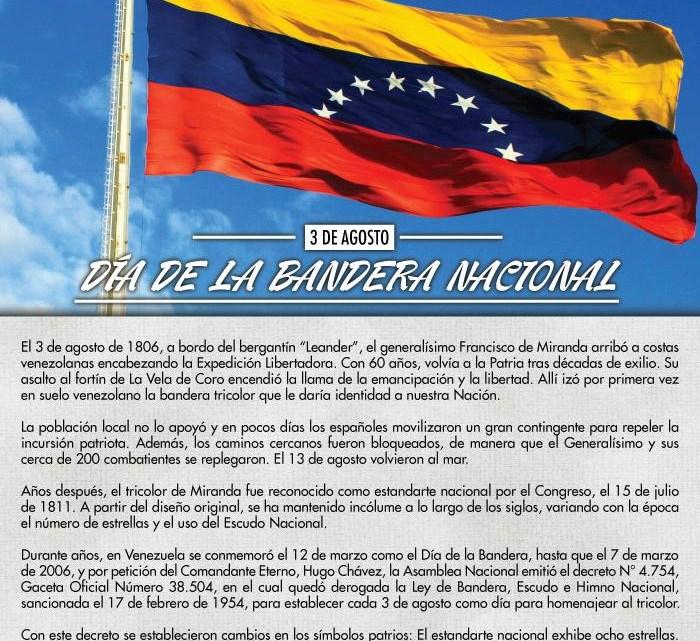 3 de agosto – Día de la Bandera Nacional Venezolana, 8 estrellas de nuestro tricolor