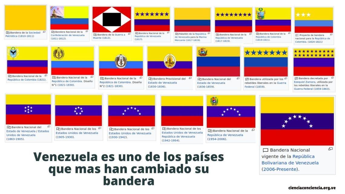 Venezuela es uno de los países que mas han cambiado su bandera