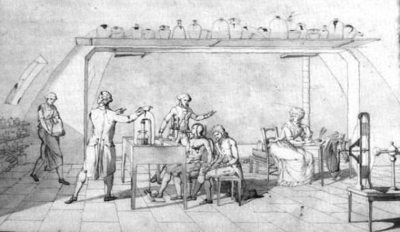 Dibujo de Marie-Anne en el que aparece Lavoisier realizando experimentos sobre la respiración humana y ella misma tomando anotaciones.
