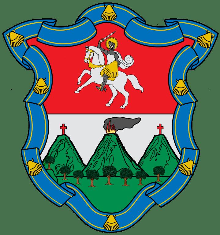 Antigua Guatemala, Herb miasta (Święty Jakub i trzy wulkany)