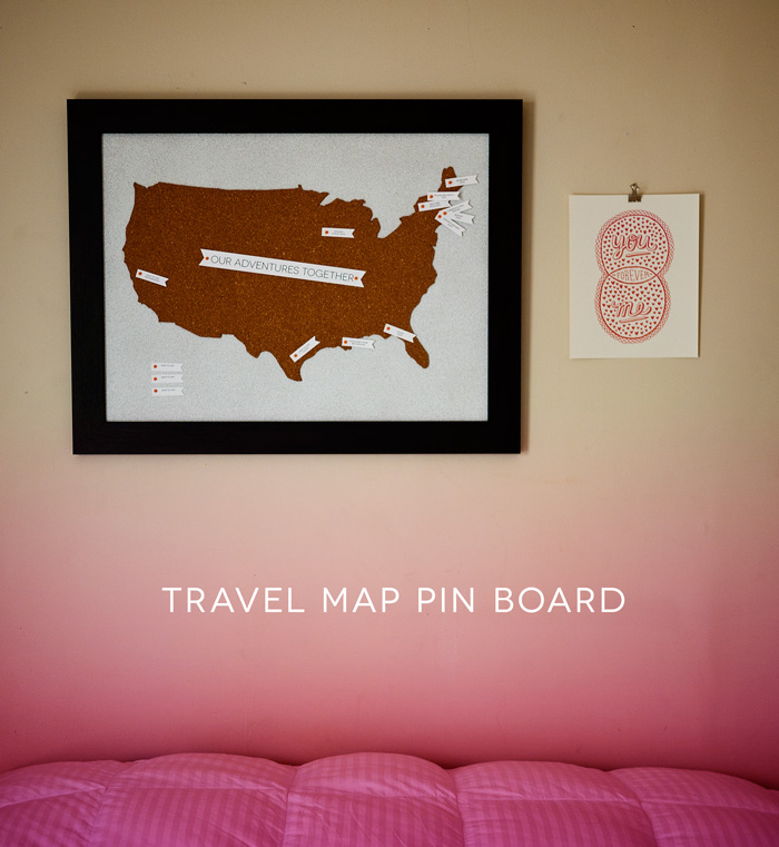 Travel Map Pin Board DIY