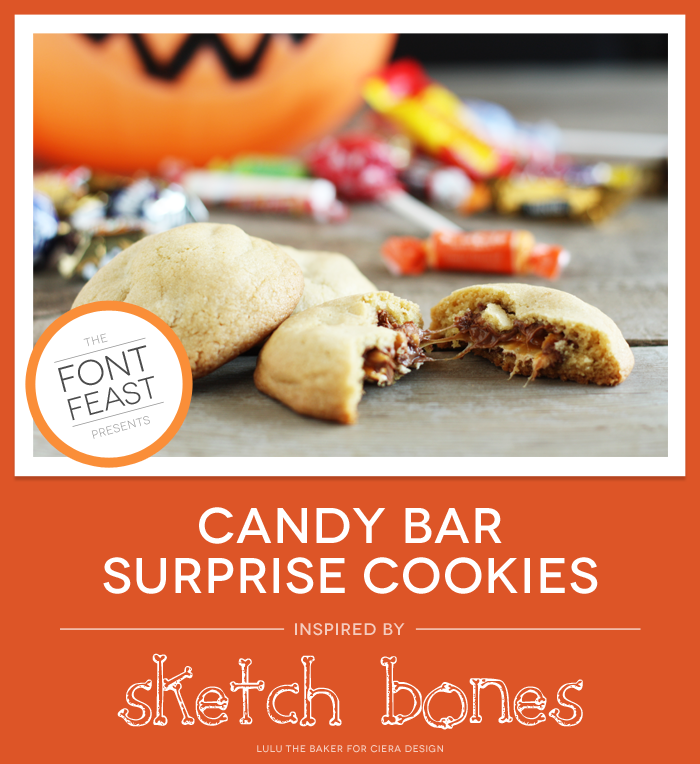 candy bar surprise cookies with halloween jackolantern