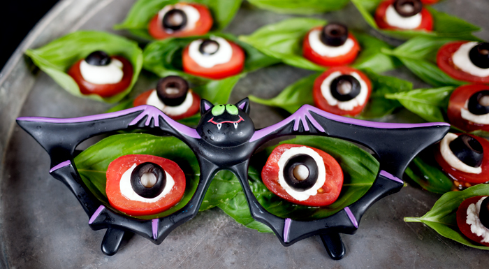 Eyeball Caprese Salad in Bat Glasses