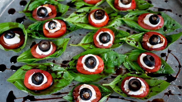 Halloween Caprese Salad on Platter