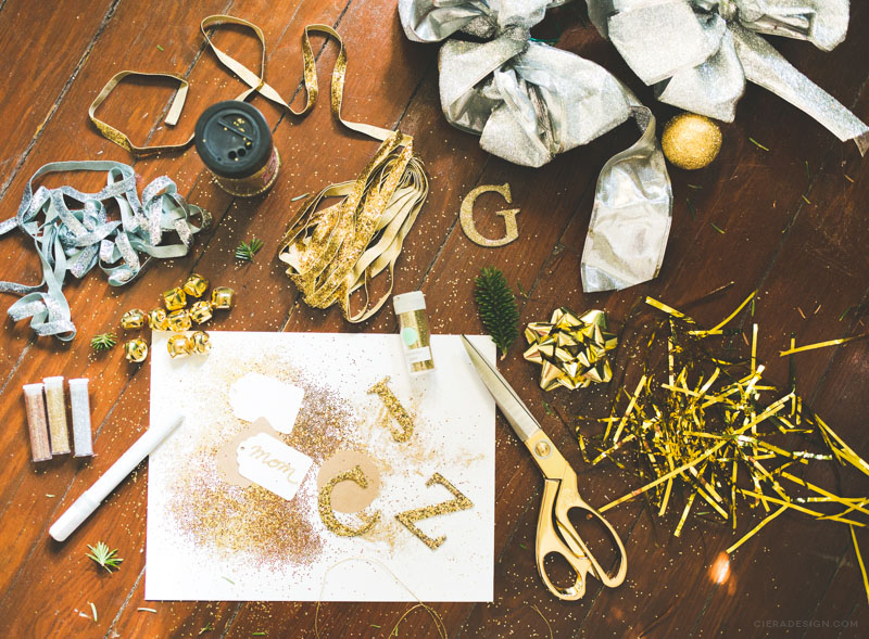 Gold Glitter, Ribbon, Bows and Craft Supplies