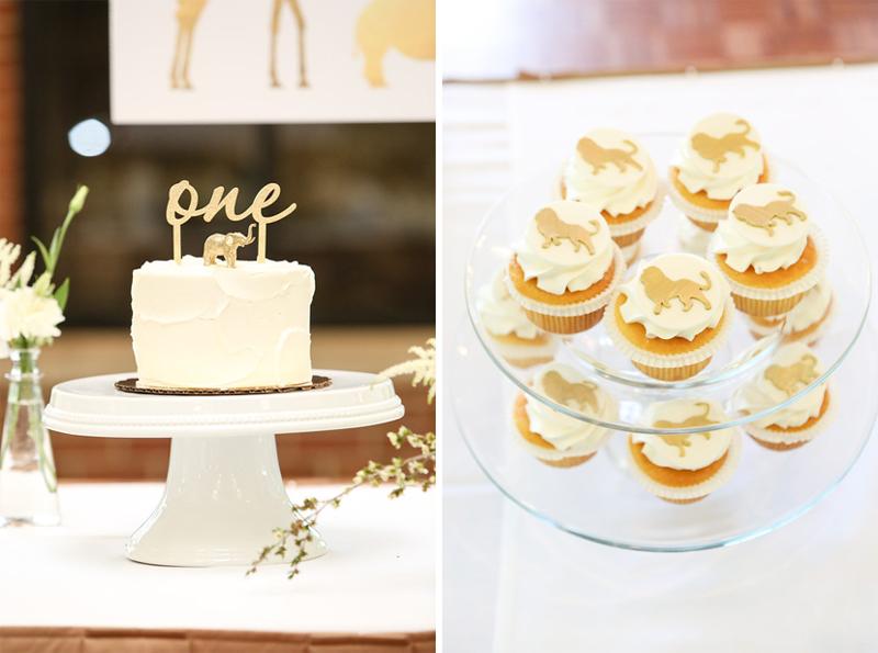 One Calligraphy  Gold Safari First Birthday Cake