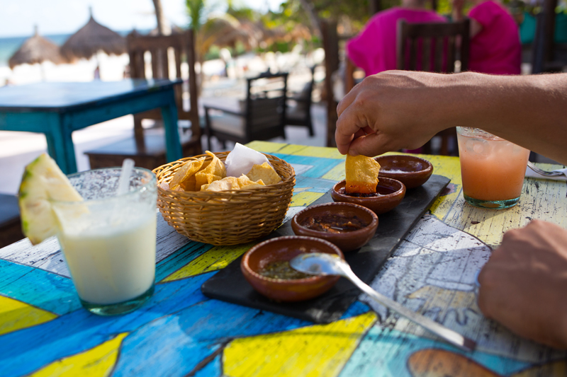 Chips and Salsas at La Zebra Tulum Beach