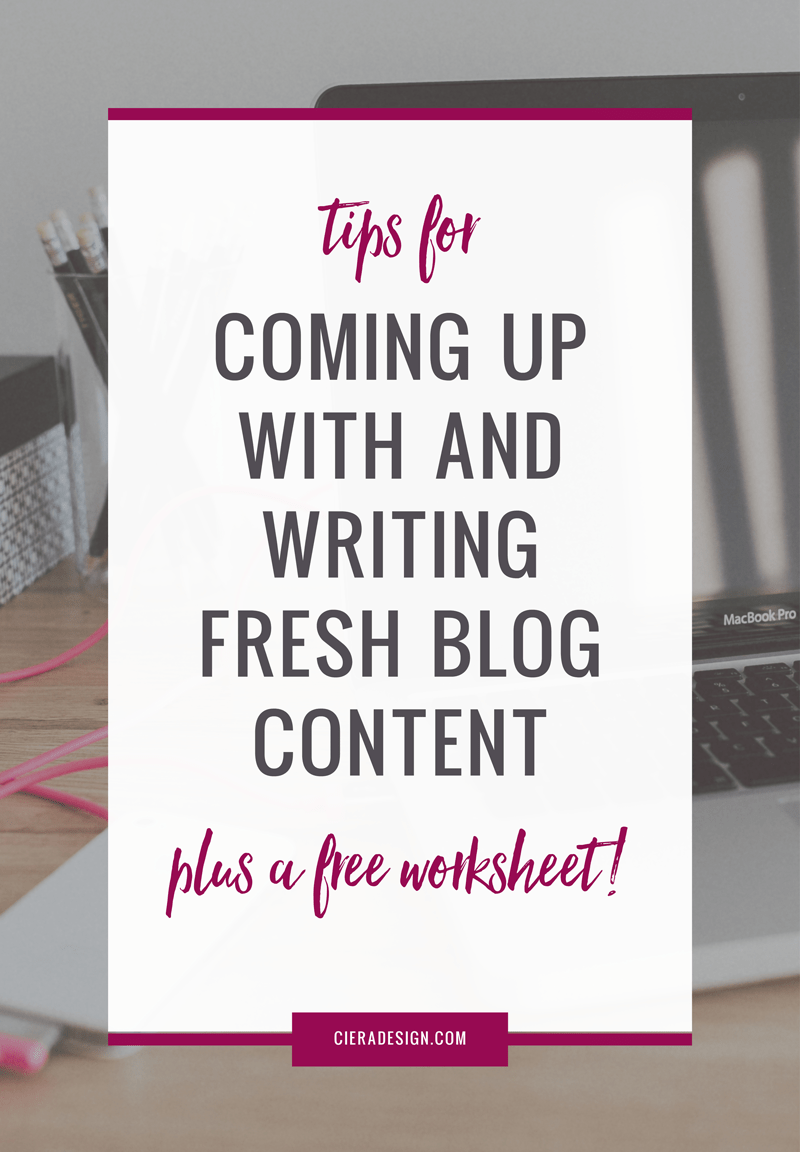 Use This Free Worksheet To Help Come Up With Fresh Blog Content