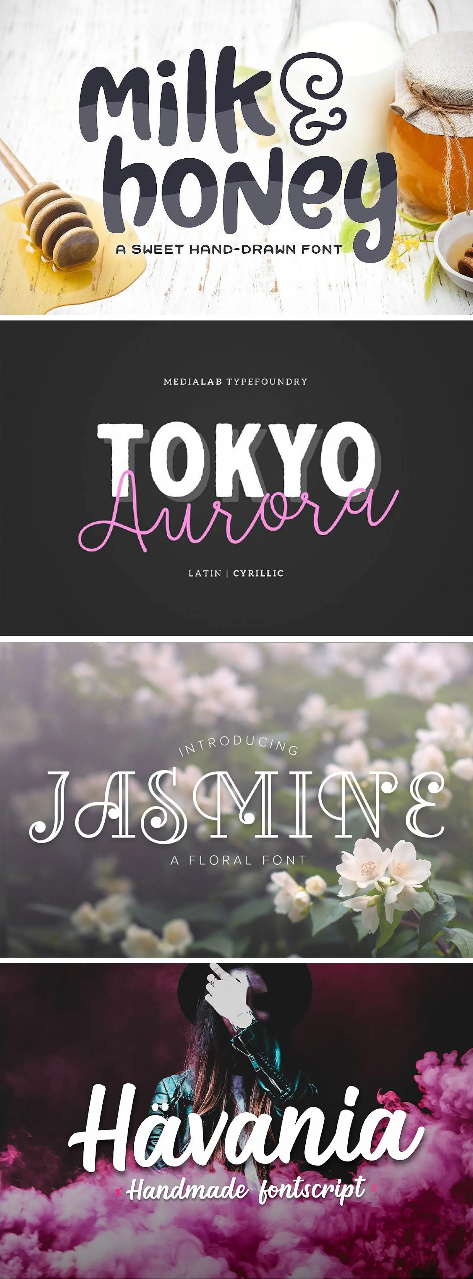 hand drawn, script, bold, floral font typefaces